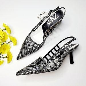 NWT Zara Animal Print Openwork Slingback Heels